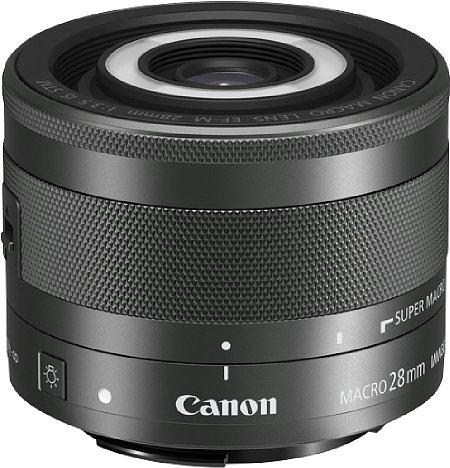 Bild Das Canon EF-M 28 mm f3.5 Macro IS STM ist ein ungewöhnlich kurzbrennweitiges Makroobjektiv. Es kostet nur knapp über 300 Euro, ist dafür aber inklusive Bajonett aus Kunststoff gefertigt. [Foto: Canon]