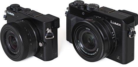"""Bild Im Vergleich zur ebenfalls heute vorgestellten spiegellosen Systemkamera Lumix DMC-GM5 ist die Panasonic Lumix DMC-LX100 (rechts im Bild) sogar etwas größer. Beide besitzen einen 4/3""""-Sensor, die LX100 hat aber das lichtstärkere Objektiv. [Foto: MediaNord]"""
