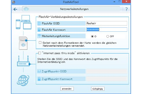 Bild Neben der SSID und dem WLAN-Passwort erlaubt die Konfigurationssoftware auch die Einstellung eines Pass-Through-Modus, damit nebenher eine Internetverbindung über das Heimnetzwerk genutzt werden kann. [Foto: MediaNord]