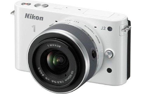 Bild Sehr schick sah die Nikon 1 J2 in Weiß aus. In der Farbe kam auch die von uns getestete Kamera. [Foto: Nikon]