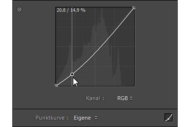 Bild Mit dem Bewegen der Gradationskurve über eine eigene Punktkurve wird dann dieser Farbbereich im gewählten Kanal verändert. [Foto: Markt+Technik]