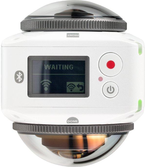 Bild Auf der Oberseite der Kodak PixPro 4KVR360 sitzen der Ein/Aus-Schalter und der Auslöser sowie ein 1 Zoll großes LC-Status-Display. [Foto: MediaNord]