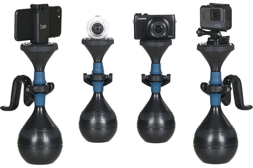 Bild Die Möglichkeiten des solidLUUV sind vielfältig: Ein Smartphone in einer Smartphone-Halterung, 360-Grad-Kameras, Kompaktkameras oder Actioncams lassen sich damit mechanisch stabilisieren. [Foto: Luuv]