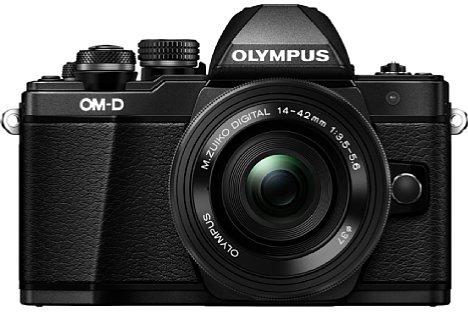 Bild Es gibt die Olympus OM-D E-M10 Mark II auch in Schwarz statt in Silber. Wer möchte, bekommt sie auch ohne Setobjektiv, das Gehäuse kostet knapp 600 Euro. [Foto: Olympus]
