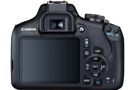 Bild Die Canon EOS 2000D verfügt über den größeren 7,5-Zentimeter-Bildschirm und besitzt bedruckte Tasten. [Foto: Canon]