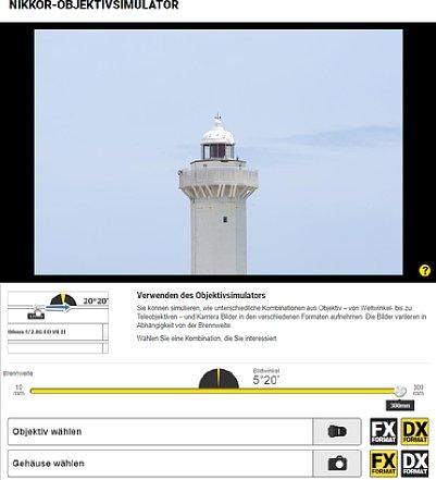Bild Der Nikon-Objektivsimulator bietet einen Schieberegler, eine Bildwinkelanzeige und besitzt Auswahloptionen für Objektive und Kameras. [Foto: MediaNord]