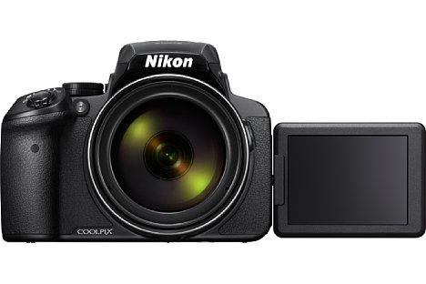 """Bild Der 3""""-Bildschirm lässt sich bei der Nikon Coolpix P900 drehen und schwenken, was auch Selfies ermöglicht. [Foto: Nikon]"""