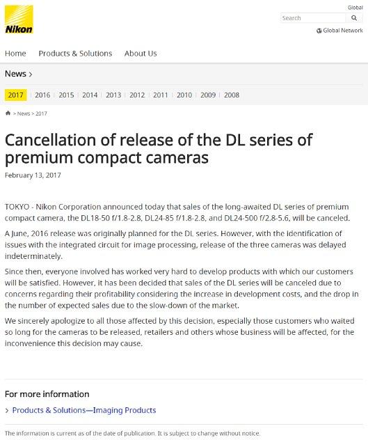 Bild Nikon Pressemitteilung zur Abkündigung der geplanten DL-Serie. [Foto: Nikon/MediaNord]