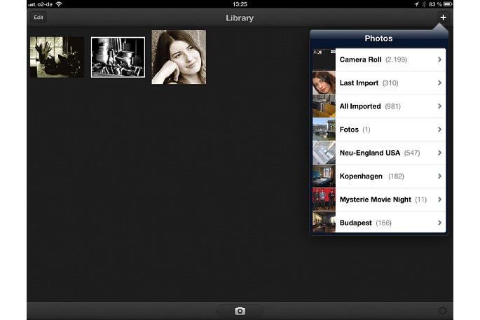 Bild Wird ein Bild aus der Bibliothek des iPhone oder iPad geladen, werden alle bereits angelegten Ordner angezeigt. [Foto: Ralf Spoerer]
