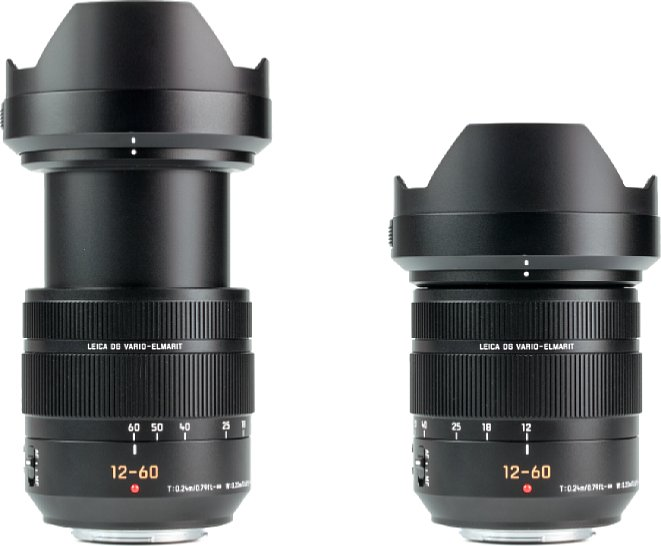 Bild Das Panasonic Leica DG Vario-Elmarit 12-60 mm F2.8-4 ASPH. Power O.I.S. mit Streulichtblende bei 12 und 60 mm. [Foto: MediaNord]