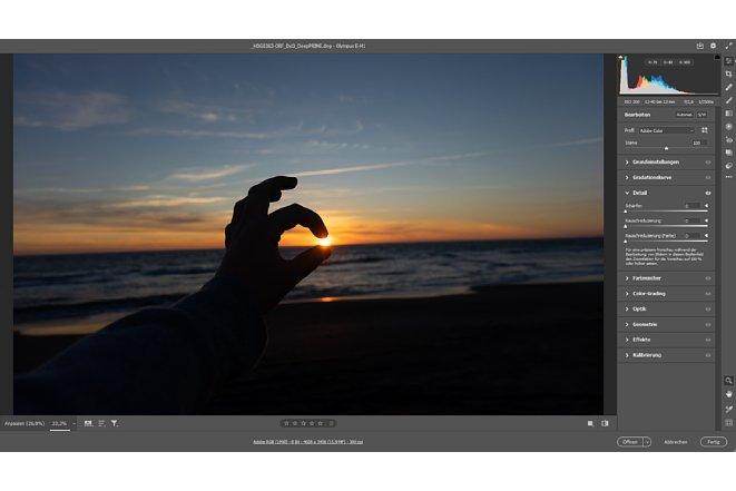 Bild Wird ein lineares DNG in CameraRaw geöffnet, so sind die Entrauschungs- und Schärfungseinstellungen automatisch auf null gesetzt. [Foto: MediaNord]