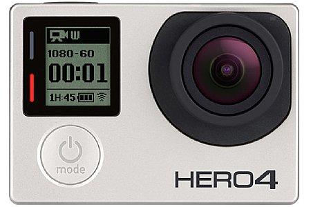 Die GoPro Hero 4 Silver Edition im Unterwassergehäuse. Von Vorne sieht man keinen Unterschied zur Black Edition.Die beiden Kontrolleuchten (bei der Hero3 Generation noch rechts neben dem großen Druckknopf) sind jetzt neben dem LC-Display. [Foto: GoPro]