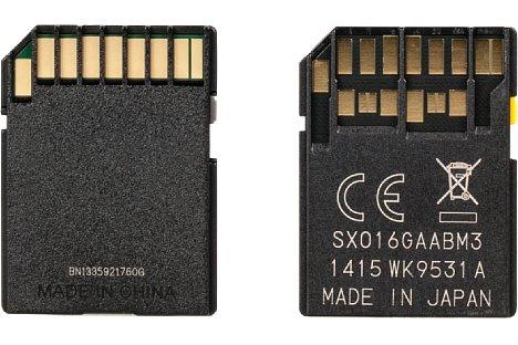 Bild Der UHS-II-Standard erweitert die SD-Karte um eine zusätzliche Kontaktreihe (Bild rechts), die eine höhere Schreibgeschwindigkeit erlaubt. UHS-III nutzt dieselben Anschlüsse wie UHS-II. [Foto: MediaNord]