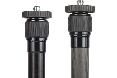 Bild Vergleich der Mittelsäulen des T-005 und des T-025X Stativs. Leicht erkennbar ist das unterschiedliche Material der Segmente. [Foto: MediaNord]