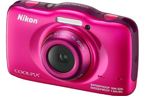 Bild In vier Farben soll die Nikon Coolpix S32 erhältich sein, neben Weiß auch in Pink... [Foto: Nikon]