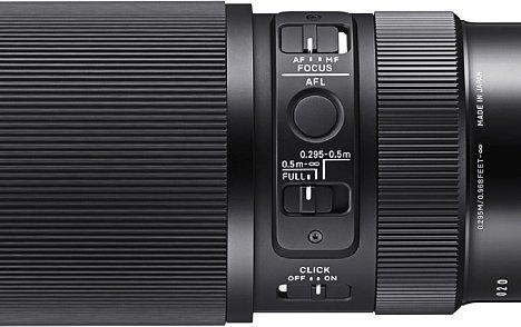 Bild Das Sigma 105 mm F2.8 DG DN Macro Art bietet zahlreiche Bedienelemente zur Kontrolle des Fokus und der Blende. [Foto: Sigma]