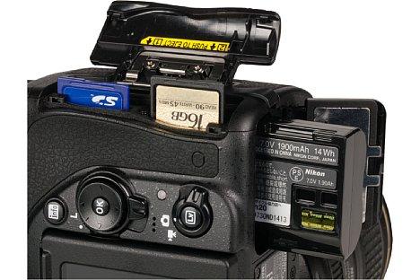 Bild Das Speicherkartenfach der Nikon D750 nimmt gleich zwei SD-Karten auf, auch SDHC und SDXC werden unterstützt. [Foto: MediaNord]