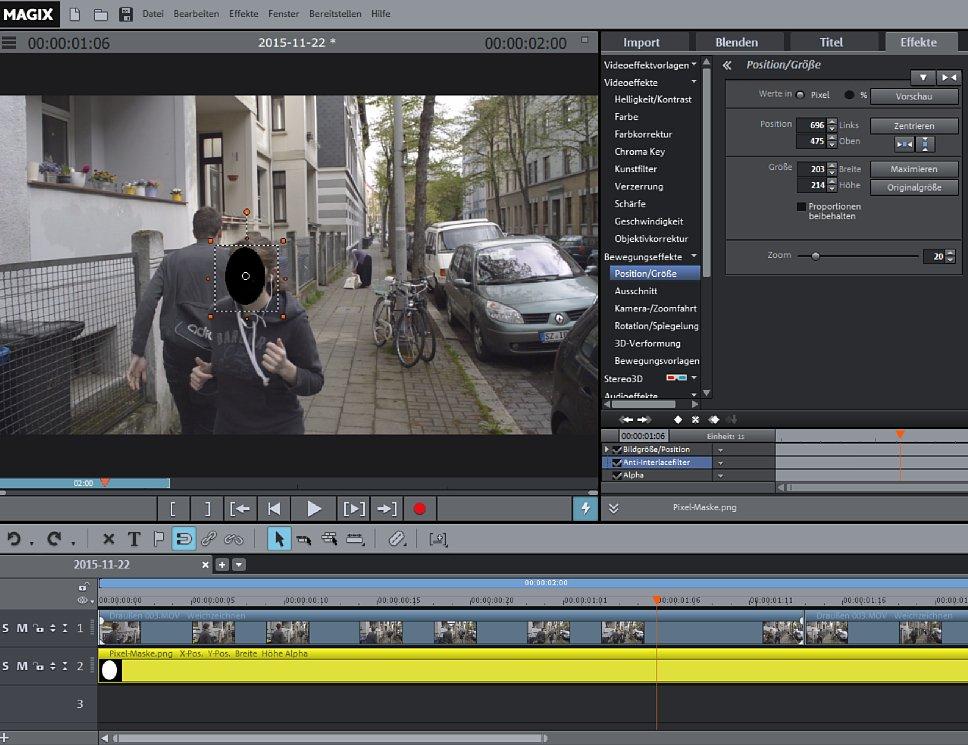 """Bild Wenn sich die Gesichtsform im Zuge des Videos nicht groß verändert, kannst du nach dem erstmaligen Platzieren der Maske auch den Haken bei """"Proportionen beibehalten"""" setzen. [Foto: MediaNord]"""