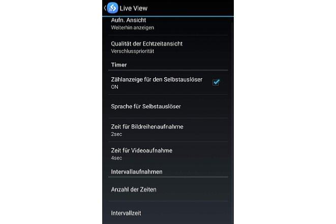 Bild Verschiedene Einstellungeoptionen können in der App vorgenommen werden. Zudem lassen sich Kameraeinstellungen in der App speichern und wieder auf die Kamera übertragen. Dazu muss die Kamera allerdings diese Funktion unterstützen. [Foto: MediaNord]