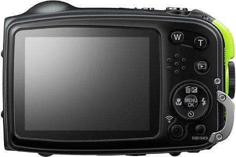 Bild Das 2,7 Zoll große LC-Display der Fujifilm FinePix XP80 löst 460.000 Bildpunkte auf und ist speziell antireflexbeschichtet. [Foto: Fujifilm]