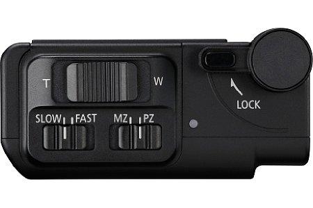Bild Die Bedienelemente des Power Zoom Adapters PZ-E1 erlauben nicht nur die Steuerung des motorischen Zooms, sondern erlauben auch die Wahl der Zoomgeschwindigkeit. [Foto: Canon]