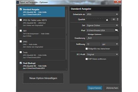Bild Der Exportdialog bietet gängige Ausgabeformate an, lässt sich jedoch auch individuell konfigurieren. [Foto: MediaNord]