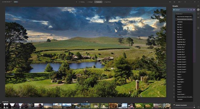 Bild Jetzt ist es Zeit, den neuen Himmel auszuwählen. Das können Sie über ein großes Dropdown-Menü erledigen. Hier können Sie auch eigene Bilder als Himmel auswählen. [Foto: MediaNord]