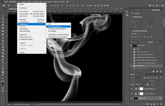 Bild Danach wird das Bild so gedreht, dass der angeschnittene Rauch nach links oder rechts zeigt. Das ist aber vollkommen optional, Sie können auch nach oben oder unten arbeiten. Dann steht Ihnen nur weniger Platz auf der Arbeitsfläche zur Verfügung. [Foto: MediaNord]