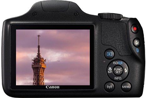 Bild Der 7,5-Zentimeter-Bildschirm der Canon PowerShot SX540 HS löst 461.000 Bildpunkte auf, einen Sucher hingegen bietet sie nicht. [Foto: Canon]