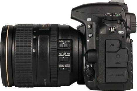 Bild Die vielen Schnittstellen der Nikon D750 befinden sich hinter Gummiklappen, wodurch sie spritzwasser- und staubgeschützt sind. [Foto: MediaNord]