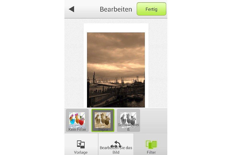 Bild Sepia- und Schwarz-Weiß-Effekt in der Instax Share App. [Foto: MediaNord]