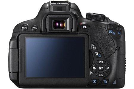 Bild Der rückwärtige Touchscreen der Canon EOS 700D misst 7,7 Zentimeter in der Diagonale und lässt sich praktischerweise schwenken und drehen. [Foto: Canon]