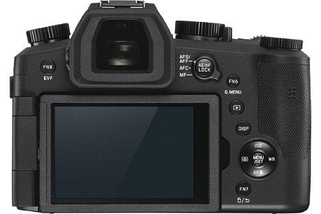 Bild Die Leica V-Lux 5 besitzt einen kontraststarken, 2,36 Millionen Bildpunkte auflösenden OLED-Sucher sowie einen dreh- und schwenkbaren Touchscreen. [Foto: Leica]