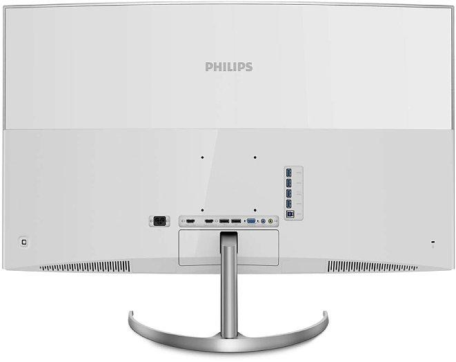 Bild Alle Anschlüsse gehen beim Philips Brilliance BDM4037UW 4K einfach nach hingen weg. Dort sind sie zwar gut erreichbar, aber wirklich hübsch sieht die Rückseite nur ohne Kabel aus. [Foto: Philips]
