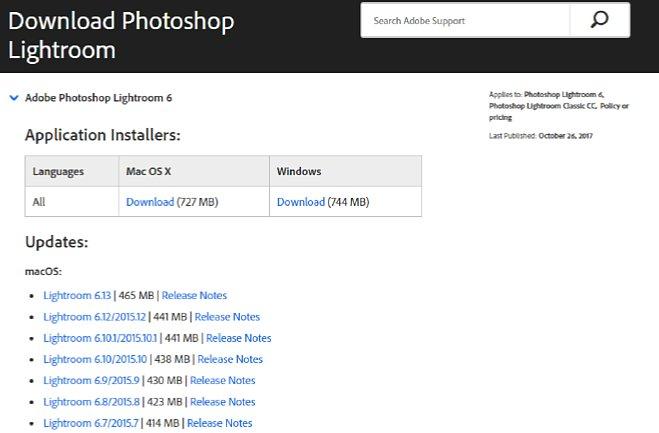 """Bild Klicken Sie auf den kleinen blauen Pfeil neben der Überschrift """"Adobe Photoshop Lightroom 6"""" um diese Sektion aufzuklappen. Dann sehen Sie die """"Application Installers"""" (Lightroom 6.0) und die Patches, von denen Sie nur den neuesten brauchen. [Foto: MediaNord (Screenshot)]"""