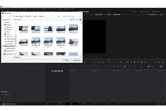 """Bild Videos und Bilder werden entweder über das Menü in den Medienpool importiert oder einfach per """"Drag and Drop"""". [Foto: Medianord]"""