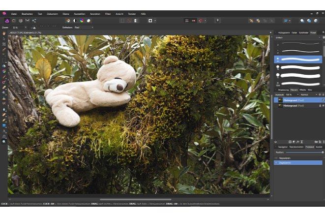 Bild Die aufgeräumte Arbeitsfläche von Affinity Photo beinhaltet alle Werkzeuge, die für die Bildbearbeitung benötigt werden. [Foto: MediaNord]