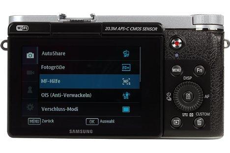 Bild Der Bildschirm der Samsung NX3000 löst nur 460.800 Bildpunkte auf und verzichtet auf eine Touch-Funktion. [Foto: MediaNord]