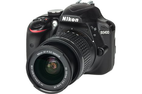 Bild Die Nikon D3400 ist eine kompakte und leichte Einsteiger-DSLR mit anständig verarbeitetem Kunststoffgehäuse. [Foto: MediaNord]