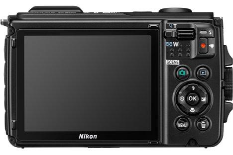 Bild Nikon Coolpix W300 Rückseite mit 7,5 cm (3 Zoll) großem Monitor mit 921.000 Bildpunkten. [Foto: Nikon]