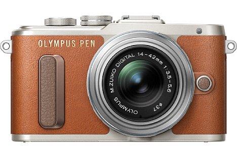 Bild Mit der Pen E-PL8 zielt Olympus wie schon beim Vorgängermodell E-PL7 auf das weibliche Publikum ab. Die spiegellose Systemkamera soll es in drei Farben geben, hier ist die silber-(vintage)-braune Version zu sehen. [Foto: Olympus]