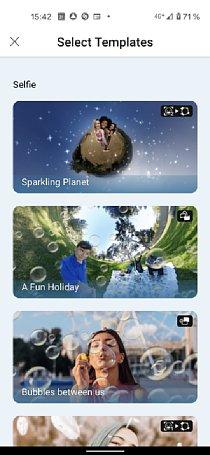 """Bild Die Smartphone-App IQUISPIN hält verschiedene vorgefertigte Templates bereit, mit denen ein 360-Grad-Foto (eigentlich egal von welcher Kamera) automatisch in ein mit Animationen """"veredeltes"""" Video verwandelt wird. [Foto: MediaNord]"""