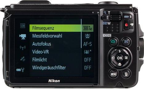 Bild Die Menüs der Coolpix W300 sind kontextsensitiv und zeigen nur die Optionen an, die in der gewählten Betriebsart auch genutzt werden können. [Foto: MediaNord]
