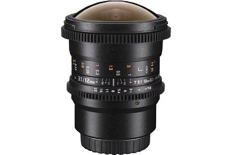 Bild Der Blenden- und der Fokusring des Walimex pro 12/3,1 Fish-Eye sind jeweils mit einem Zahnkranz ausgestattet. So kann ein Follow-Fokus-System für Videoaufnahmen genutzt werden. [Foto: walimex pro]