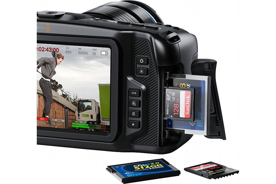 Bild Die Blackmagic Pocket Cinema Camera 4K besitzt je einen Steckplatz für SD-Card (UHS I und UHS II) und CFast. Wenn über USB-C ein externes Speichermedium angeschlossen wird, wird der SD-Card-Slot deaktiviert. [Foto: Blackmagic]