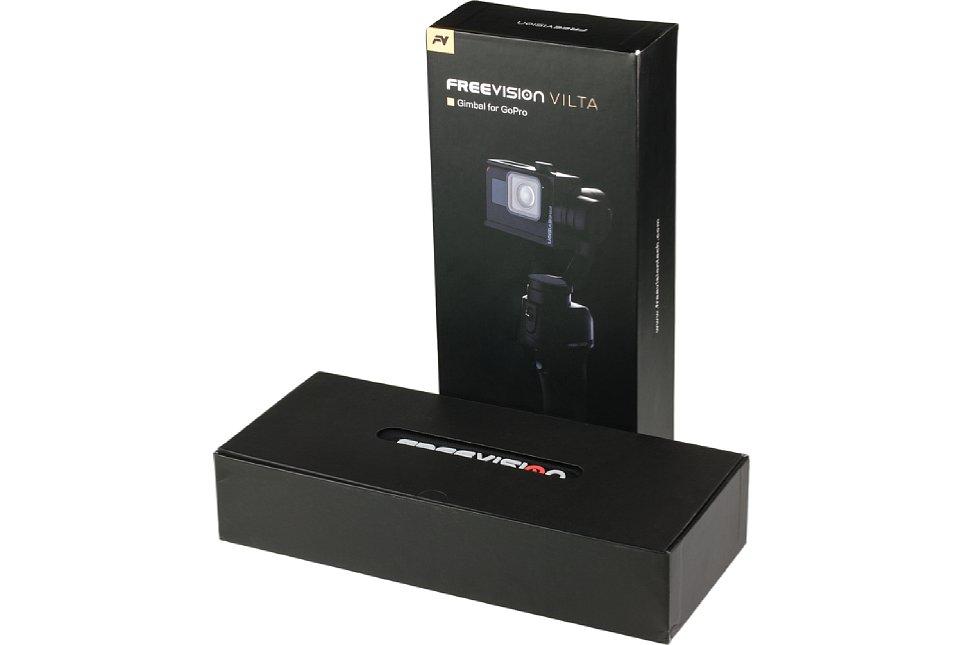 Bild Der Freevision Vilta Gimbal für GoPro kommt platzsparend und formschön verpackt. Auf irgendwelches Füllmaterial im Karton kann der Hersteller verzichten, denn ... [Foto: MediaNord]