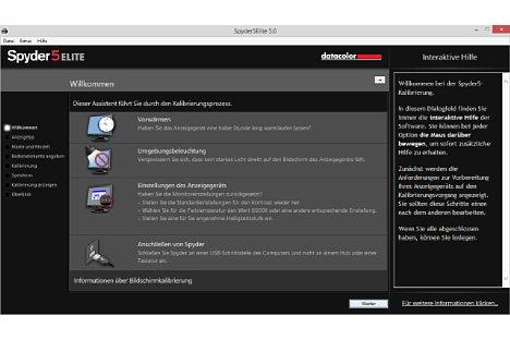 Bild Startbildschirm Spyder5 Elite Software. [Foto: MediaNord]