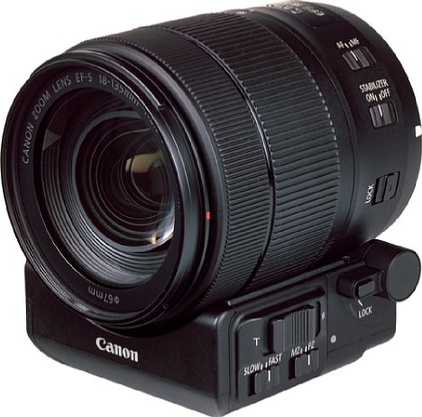 Bild Canon PZ-E1 (Powerzoomadapter) mit EF-S 18-135 mm STM. [Foto: MediaNord]