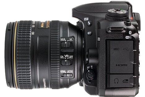 Bild Auf der linken Gehäuseseite ist die Nikon D7500 nicht nur mit zahlreichen Bedienelementen, sondern auch mit vielen Schnittstellen ausgestattet. [Foto: MediaNord]