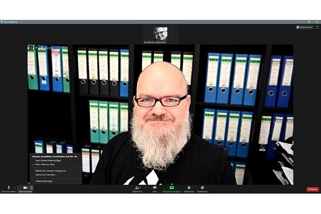 Bild Während die Zoom Webapplikation die Webcam Utility Beta nicht als Auswahl erkennt, konnte die App das Problemlos. [Foto: MediaNord]